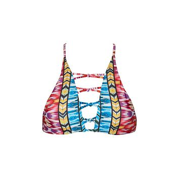 Newport Strappy High Neck Bikini Top - Sunset Tribal Print