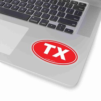 Texas TX Euro Oval Sticker SOLID RED