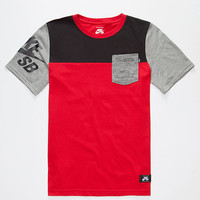 Nike Sb Colorblock Boys Pocket Tee Red Combo  In Sizes