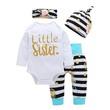 Baby girls set Newborn Kids Baby Outfits Clothes Print Romper+Long Pants+Hat + Headband baby clothes Set drop shipping