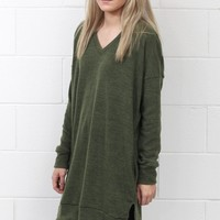 Total Classic V-neck Sweater Tunic {Olive}