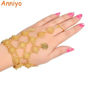 Anniyo Length 22CM/Turkey Coin Bracelet New for Women Gold Color Kurdish Charm Bangle Arab Jewelry Middle East/African #075306