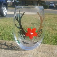 Sassy Reindeer Wine Glass, Christmas Wine Glass