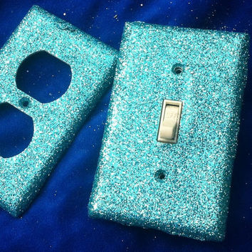 Aqua Glitter Switchplate Set