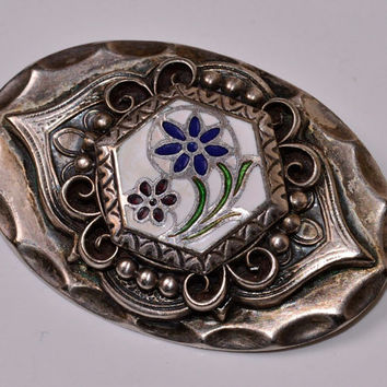 Vintage Silver and Enamel Brooch Silver and Blue Pin