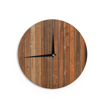 "Susan Sanders ""Rustic Wood Wall"" Nature Brown Wall Clock"