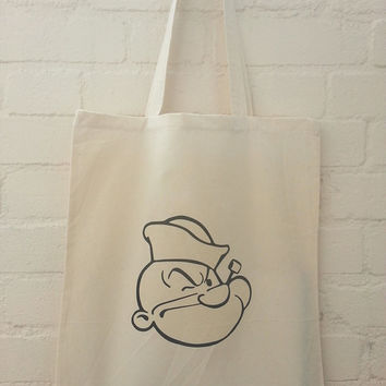 Popeye Natural Cotton Tote Bag - everyone's favourite sailor!
