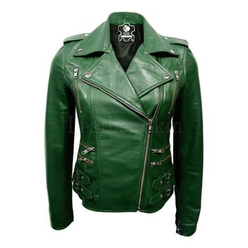 Brando Women Leather Jacket Green
