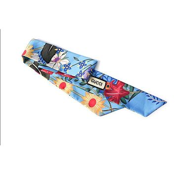 GUCCI satin totem flower flowers small scarves decorative scarves tied bow ribbons Blue