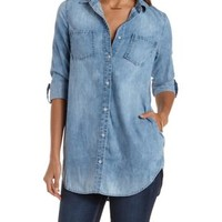 Acid Wash Denim Button-Up Chambray Tunic Top by Charlotte Russe