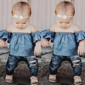 Toddlers Kids Baby Girls Clothing Tops Pullover Short Sleeve Tops T-shirt Off Shoulder Tees Girl Clothes