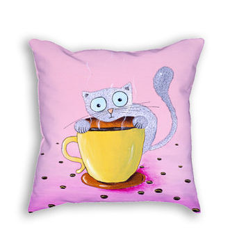 Cushion case Cat pillow case Pink pillow Coffee pillow Funny pillow cover Cute kitchen decor Nursery room pillows Girls room decoration CATS