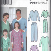 Simplicity 5784 Pattern for Childs', Teens', and Adult Pajamas & Nightshirts. Sizes XS to XL, From 2002, Easy to Sew.