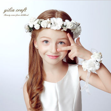 Fashion white bride wedding wreath head flowers wrist flower corsage flowergirl hair accessories