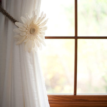 Burlap Flower Macrame Curtain Tiebacks, Rustic Home Decor, Window Treatments