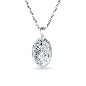 Embossed Sun Flower Round Locket Pendant Sterling Silver Necklace