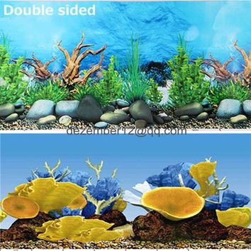 24'' / 60CM / 50CM / 40CM Aquarium Background Poster Fish Tank Landscape Picture Wall Decor