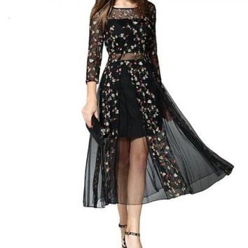 Black Floral Embroidered Mesh Dress For Women
