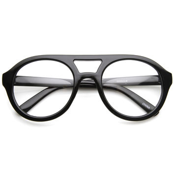 Hipster Retro Bold Thick Frame Clear Lens Aviator Glasses 8774
