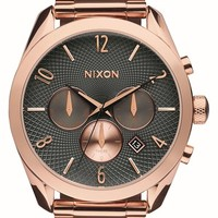 Women's Nixon 'Bullet' Guilloche Chronograph Bracelet Watch, 42mm - Rose Gold/ Gunmetal