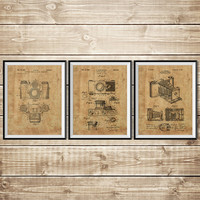 Camera Patent Poster, Patent Print Set, Camera Wall Print, Vintage Camera Decor, Camera Wall Decor, Antique Camera Decor, INSTANT DOWNLOAD