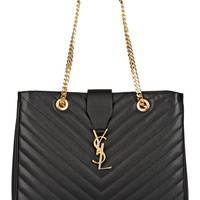 Saint Laurent - Monogramme large quilted textured-leather tote