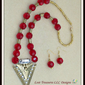Crimson-Handmade Ladies Jewelry Set-2 Piece Ladies Necklace & Earrings-Beadwork-Handcrafted-Trending-Fashion-Treasury-Jewellry-Gifts for Her