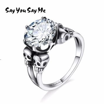 Skull Skulls Halloween Fall Say You Say Me 925 Sterling Silver Four  Rings Unisex Wedding&Engagement Punk Glass Stone Rings 2018 New Arrival Calavera