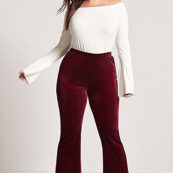 Plus Size Velvet Flared Pants