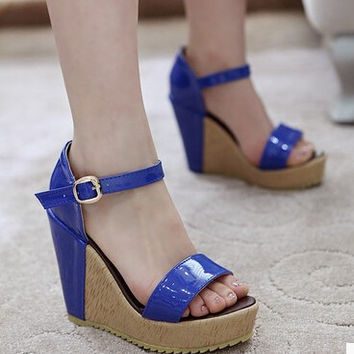 Women new fashion spring summer sandals 11.5cm wedges sexy ultra high heels open toe patent leather 3.5cm platform buckle shoes