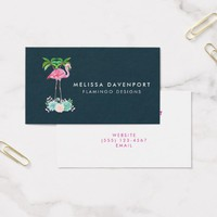 Pink Flamingo Palm trees and Succulents Business Card