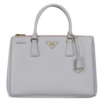 Prada Galleria Saffiano Lux Leather Double Handle Bag In Granite