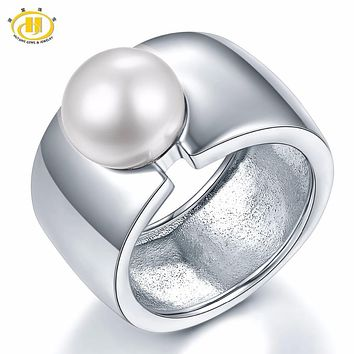 Hutang Big Band White Freshwater Pearl Solid 925 Sterling Silver Rings For Women Fine Jewelry Xmas Gift 11.11