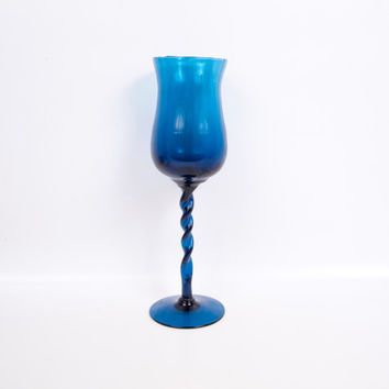Vintage Sapphire Blue Art Glass Goblet Tall Twisted Stem Empoli Italian Glass Large Optic Rib Chalice Peacock Candle Holder Turquoise Vase