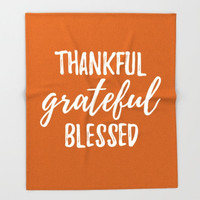 Fleece Blanket, Thanksgiving Decor, Orange and White, Thankful Grateful, Blessed Decor, Guest Room Decor, Living Room Decor, Small Bedding