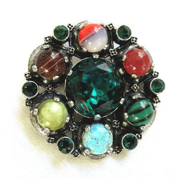 Vintage Traditional Celtic design Faux Gemstone Brooch or Pendant