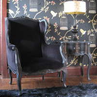 Sassy Boo Black Wing Armchair|Chairs & Armchairs|Seating|French Bedroom Company