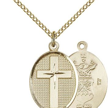 14K Gold Filled Cross Air Force Military Soldier Catholic Medal Necklace 617759730043