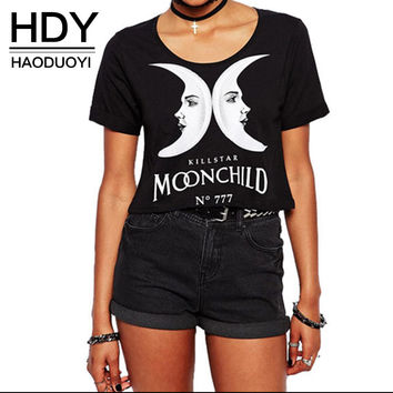 HDY Haoduoyi  Summer Fashion Women Solid Black Punk Style O-neck Short Sleeve T-shirt Letter & Moon Print Crop Top Tees