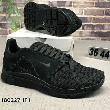 NIKE FREE FLYNIT NSW Hand-knit comfortable shock-absorbing sneakers F-CSXY black