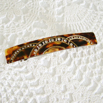 Vintage Hair Clip Made in France, Faux Tortoise Shell & Rhinestones