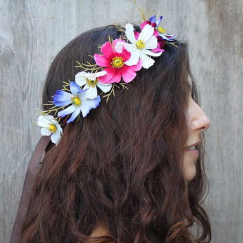Vintage Cosmos Flower Crown - Radiant Orchid Fucsia, Wildflower Crown, Floral Headpiece, Festival Accessories, Bridal Flower Crown, Circlet