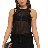 Black Racer Back Mesh Tank Top