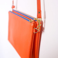 Twin Leather Clutch, Leather Pounch, Crossbody Bag in Orange,Two Ways of Carrying