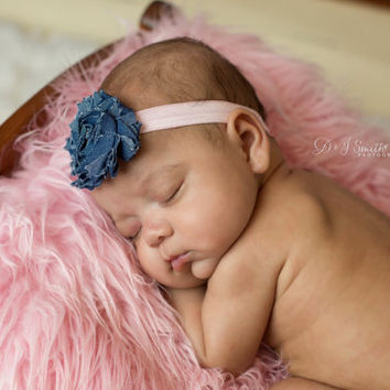 Denim Baby Headband.Baby Denim Headband.Denim Headband.Baby Headband.Infant headband.Newborn Headband.Photo Prop.Denim Flower Bow.Pink Bow
