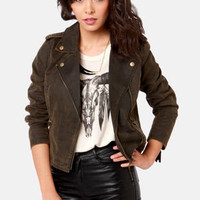 Obey Hitch Hiker Washed Brown Motorcycle Jacket