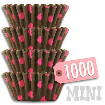 Brown & Pink Hearts MINI Baking Cups 1000 pk