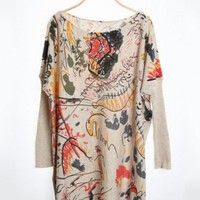 Acrylic Personality Long Sleeve Round Neck Graffiti Printed Loose Sweater  ( color) style 1632012 in  Indressme