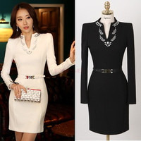 Spring Casual Women Clothes White Black Office Lady's Long-Sleeve Dress With Belt  SV003131 Vestidos (Size: M, Color: Black) = 1931935684