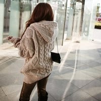 women Hooded Long Sleeve Cardigan Sweater Coat